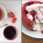 Творог с ягодами в кольце из коржа Red Velvet