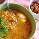 Тыквенный суп с чечевицей и мидиями