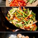 Спаржа с креветками и овощами на воке. Приготовление
